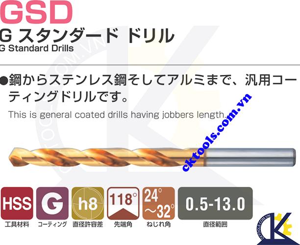 Mũi khoan Nachi GSD 13.50, Mũi khoan Nachi List 520P 13.50 Mũi khoan L520P F13.50, Mũi khoan thép gió Nachi D13.50